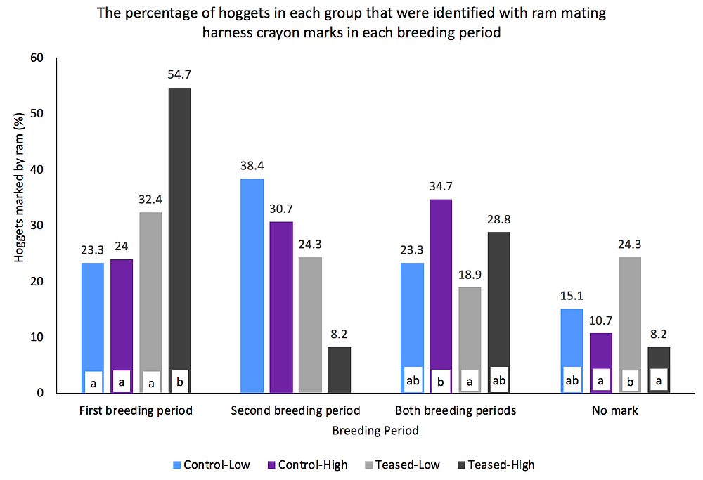 Graph 3. The effect of hogget treatment group on hogget mating pattern.