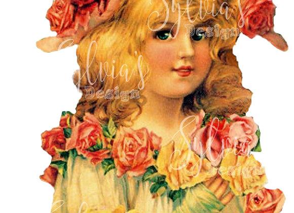 Vintage lady with flowers digital download