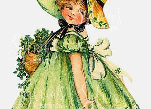 Irish girl in green dress, vintage image