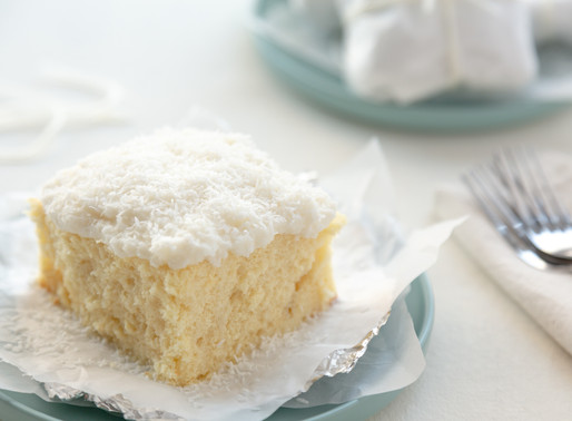 wrapped iced coconut cake