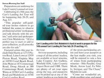 Carr's Landing Art Tour in the Lake Country Calendar