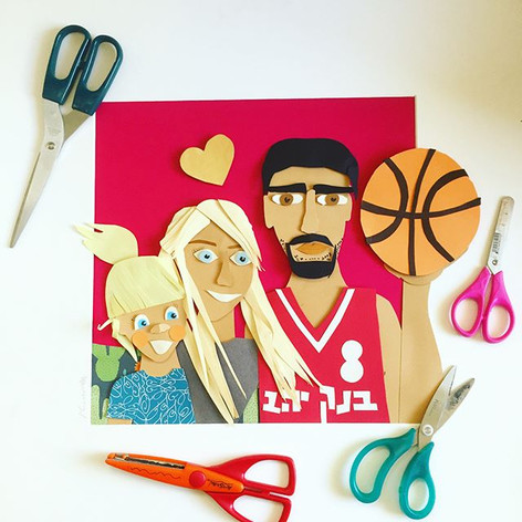 A family portrait I made for Israeli basketball player in _jerusalembasket ⭐️ ordered by his beautiful wife _anastasia_kuras ♥️ such a sweet