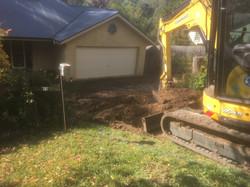 Concrete driveway excavation
