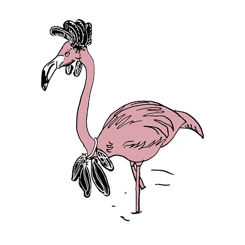 Pink Flamingo Wearing Black Feathers by Ben Connors