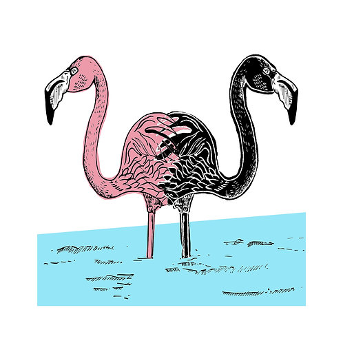 Shit the Pink Flamingo Says to the Black Flamingo by Ben Connors