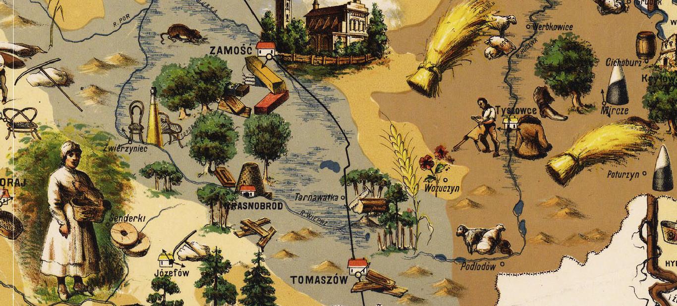 Mapa Krolestwa Polskiego z 1885 roku