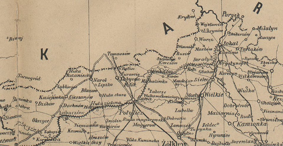 Mapa granicy 1880 roku.