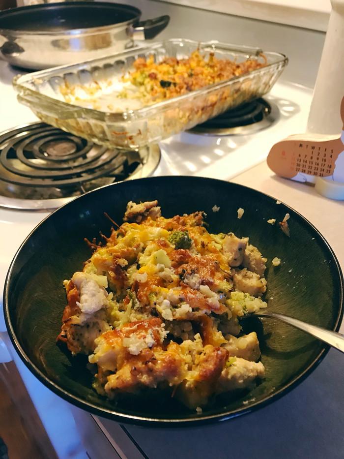 I made broccoli cauliflower riceand chicken casserole
