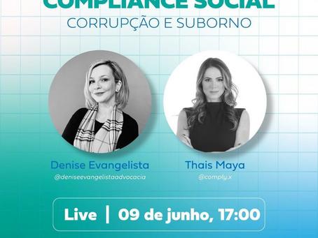 Live sobre Compliance Social: Corrupção e Suborno.