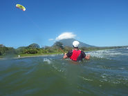 Piloting with a trainer kite on Ometepe with Sun Kite School