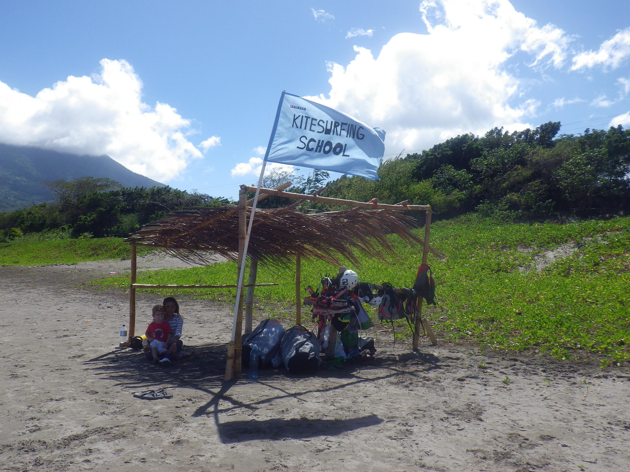 Kitesurfing stand on Ometepe beach