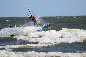 Préparation au saut en kitesurf au Nicaragua