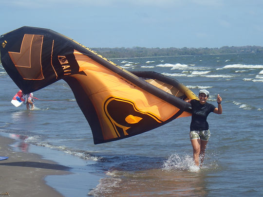 Emmanuelle with an Airush kite DNA