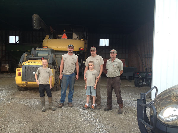 Very proud of our family farm.  Grandpa who started it all, son and son in law keeping it growing, and two boys who are very interested for now!