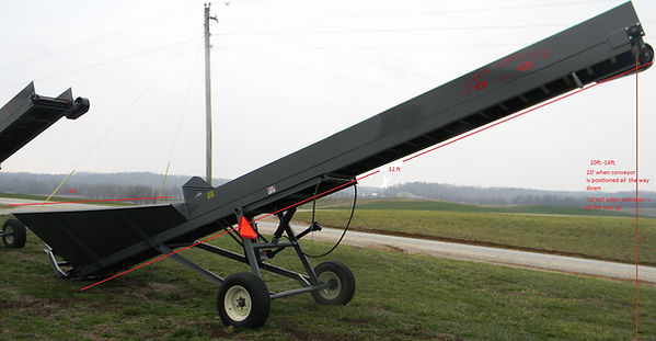 This is a hopper litter conveyor showing measurements of conveyor itself and also hieght that conveyor will reach.