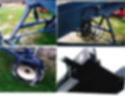 more close up photos of scissor lift, wheels and tires, hydraulic hoses.