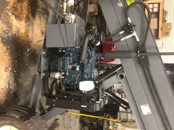 A detailed closer look at a power unit on a Wagner Litter Conveyor