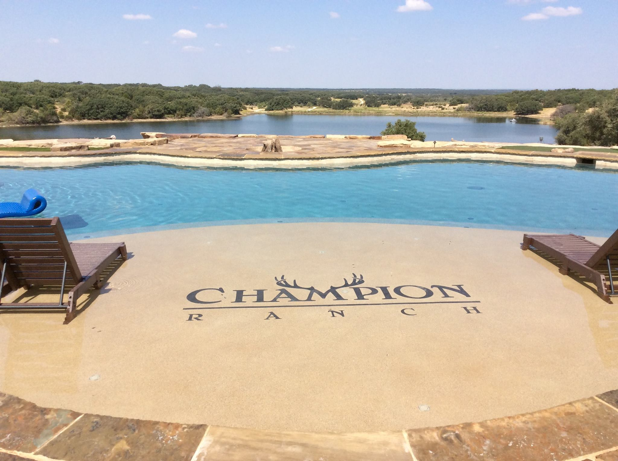 Resort style pool with logo