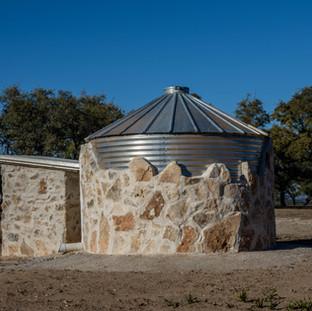 Custom rain water collection tank and pump house