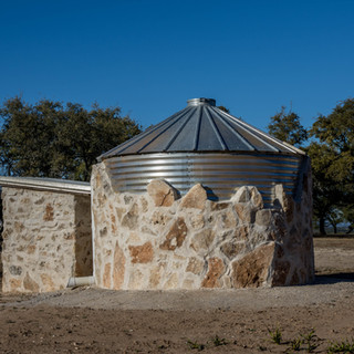 Custom rain water collection tank and pump house