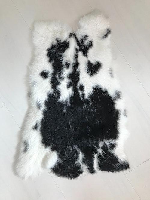 Luze konijnenvacht zwart-wit