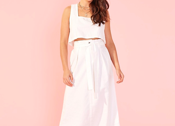 MinkPink Vivien Box Pleated Skirt-White