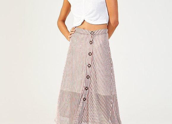 MinkPink Striped Knit Midi Skirt-Rust