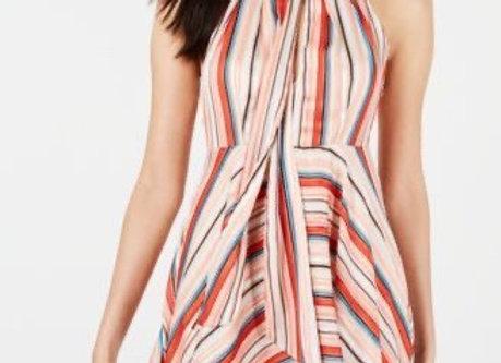 FoxieDox Tie Neck Striped Dress-Multi
