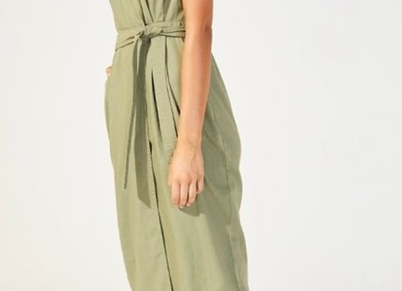 MinkPink Alena Midi Wrap Dress- Khaki