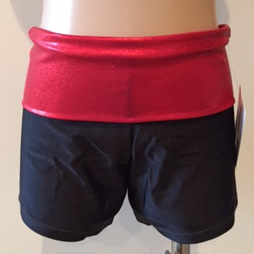 Black and red fold over gym shorts