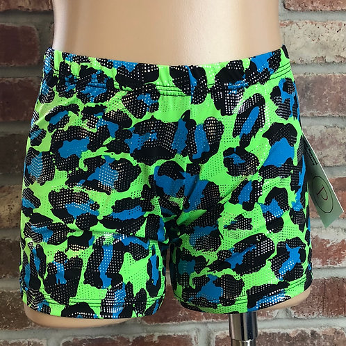 Blue and green cheetah gym shorts