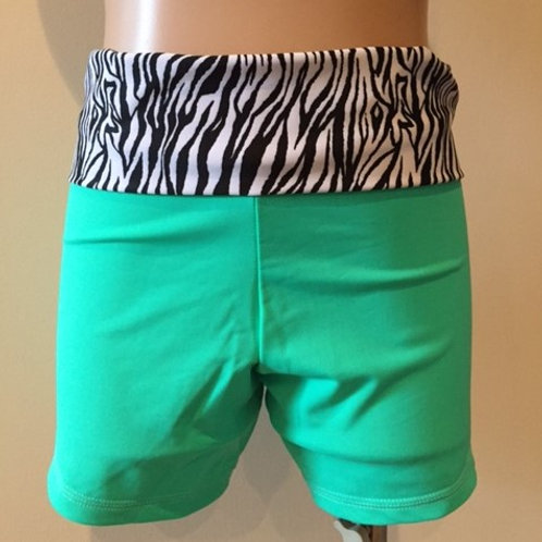 Teal/Zebra fold over gym shorts