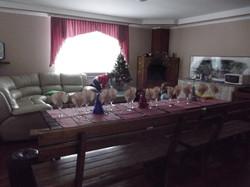 Гостиная с камином и кухней
