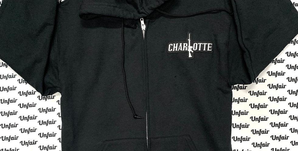 Black Zip Up Charlotte Patch Hoodie