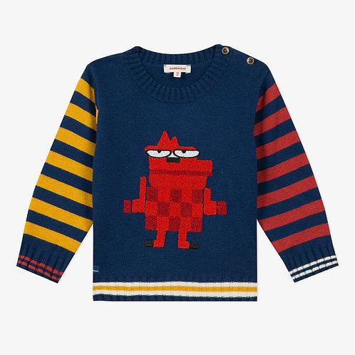 Pull en tricot bleu marine avec rayures jaune et rouge - Catimini