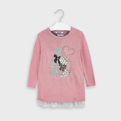 Robe tricot à motif de chat rose - Mayoral