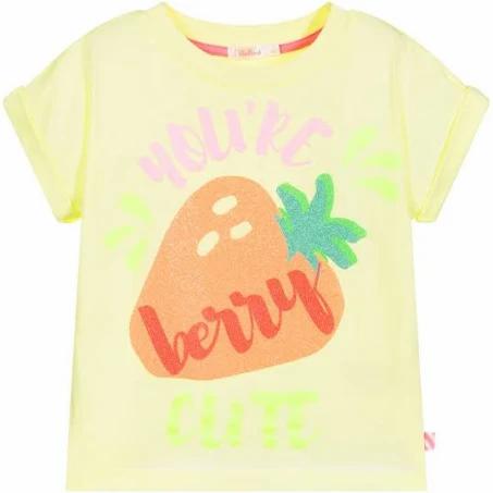 Haut à manches courtes jaune avec imprimé de fraise - Billieblush