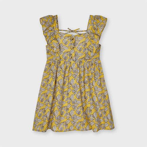 Robe imprimé feuilles moutarde-Mayoral