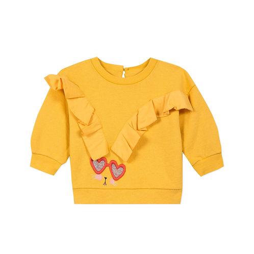Pull en molleton jaune avec volants et broderie - Catimini