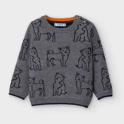 pull en tricot gris avec détail de chien-Mayoral
