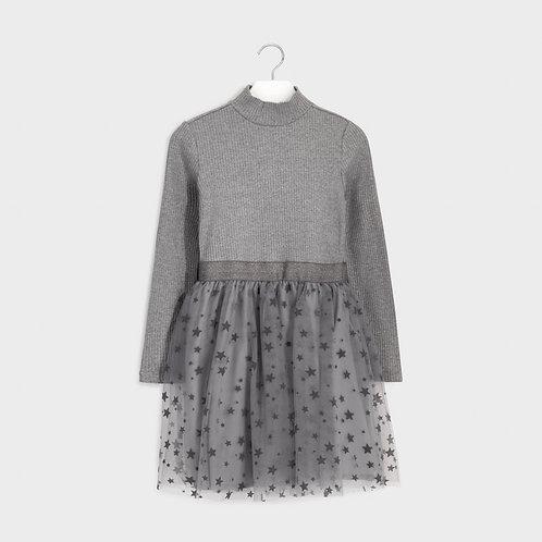 Robe grise avec jupe en tulle - Mayoral