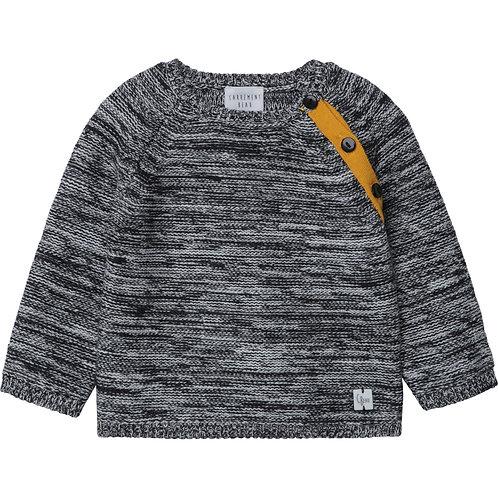 Pull en tricot gris à accent moutarde - Carrément Beau