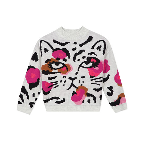 Pull visage léopard avec accents fushia - Catimini