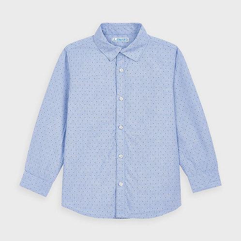 Chemise bleu ciel avec petit imprimé- Mayoral