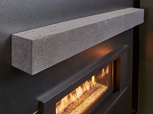 POLISHED GRAY CONCRETE MANTEL