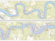 Mapa Slapské přehrady s vyznačeným omezením plavby