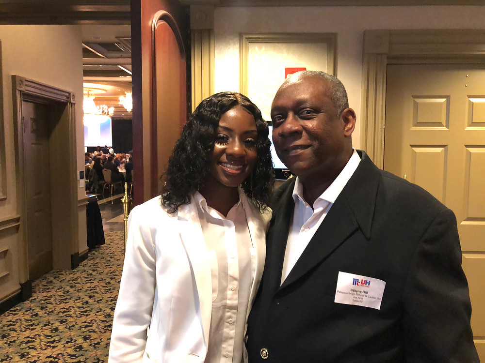 Ashya Hill, the 2019 Patapsco High female Unsung Hero honoree, with her dad Wayne, the 1977 Northern High Unsung Hero honoree, prior the 79th McCormick Unsung Hero Awards in May.