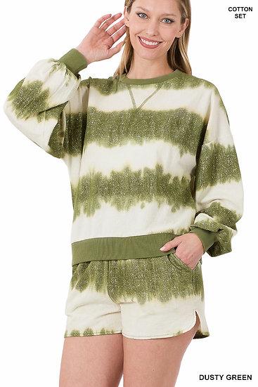 Green Tie Dye Short Set