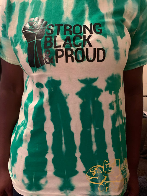 Green tie dye T-shirt -Strong Black and Proud