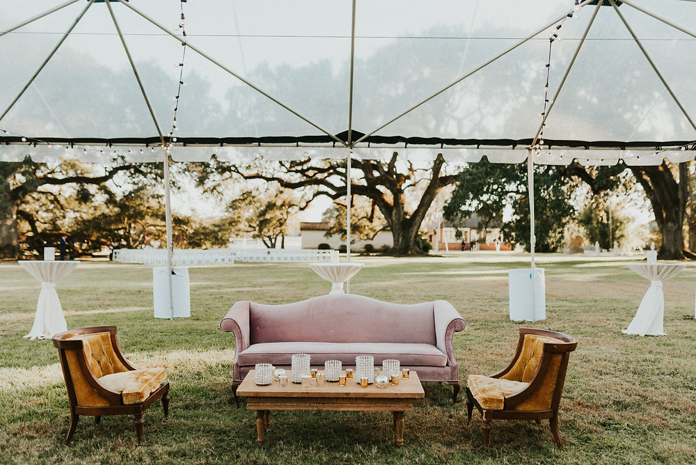 Vintage tables and chairs at Stella Plantation wedding